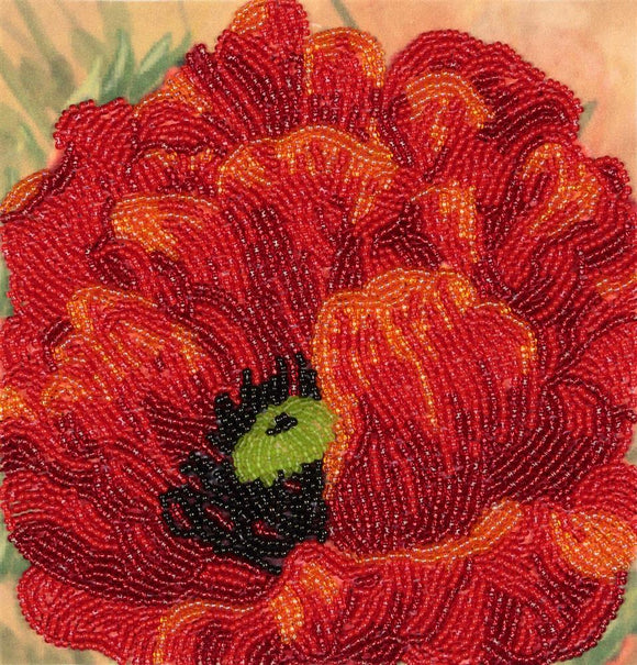 Bead Embroidery Kit Poppy Bead Work Embroidery Kit VDV