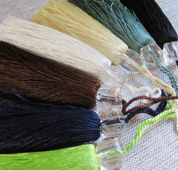 Tassels, Trimming Tassels, Beaded Trimming Silky Tassel SET of 4 (7 colours) -115mm