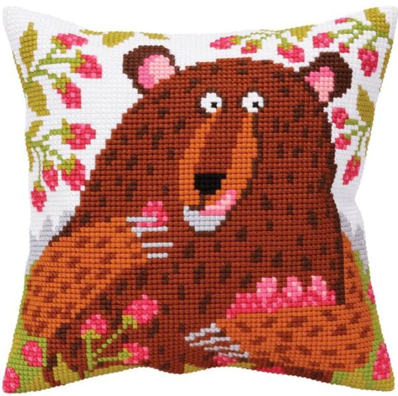 Bear in Raspberries CROSS Stitch Tapestry Kit, Collection D'Art CD5396