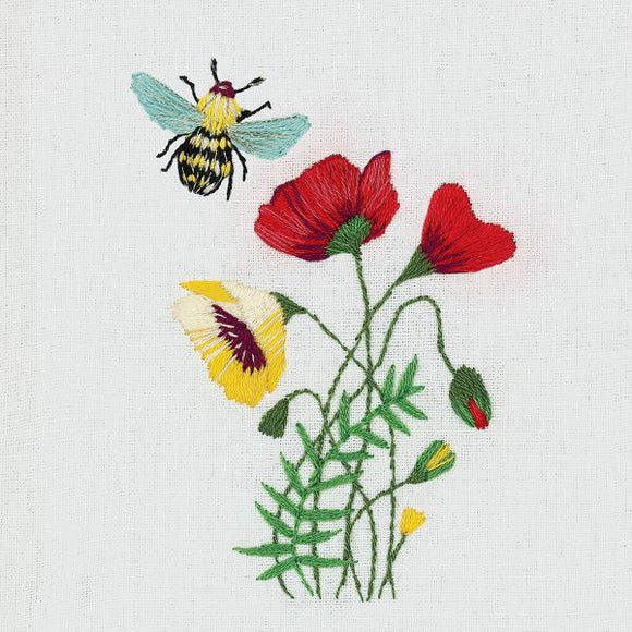 Bee and Poppies Embroidery Kit, Panna JK-2181