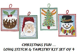 Christmas Fun Beginners Tapestry and Long Stitch Kits -Set of 4