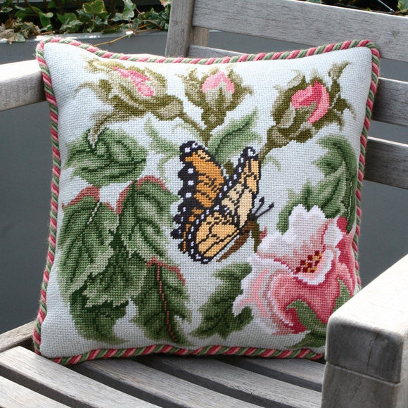 Beth Russell Needlepoint Tapestry Kit, Rose Garden Butterfly