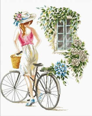 Bicycle Girl NO-COUNT Printed Cross Stitch Kit, Needleart World N640-078