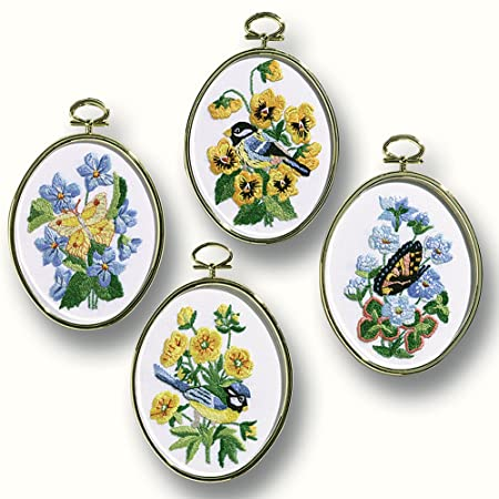 Embroidery Kit Birds and Butterflies Embroidery Set of 4, 004-0753