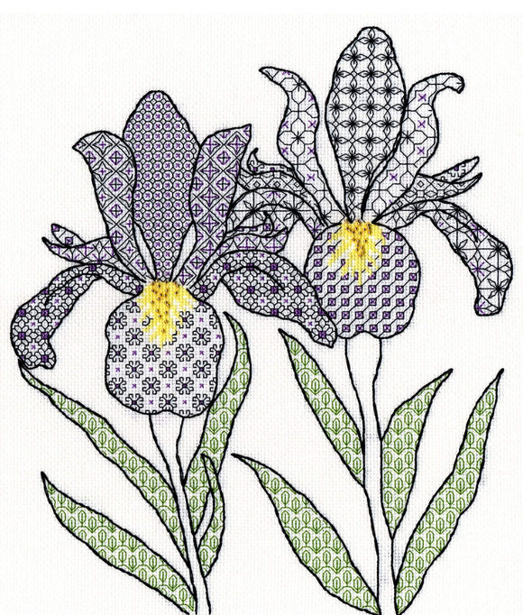 Creative Blackwork Embroidery Kit, Irises Blackwork XBW5