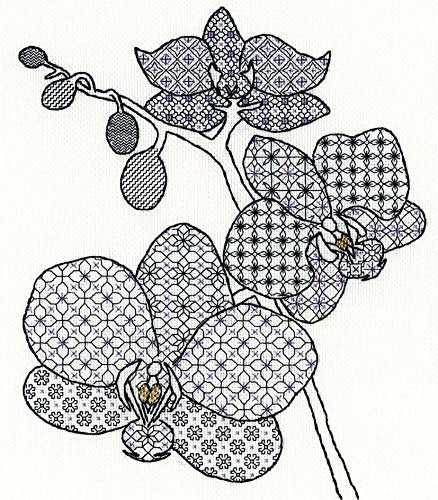Creative Blackwork Embroidery Kit, Orchid Blackwork XBW2