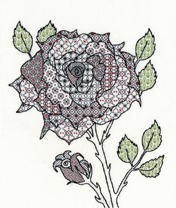 Creative Blackwork Embroidery Kit, Rose Blackwork XBW6