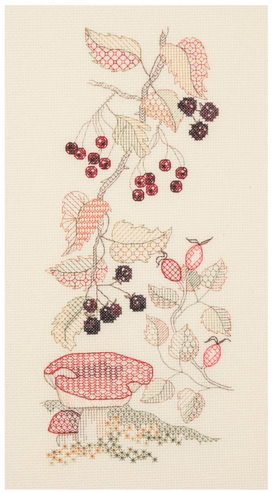 Creative Blackwork Embroidery Kit, Autumn Season Flower Panel SP03