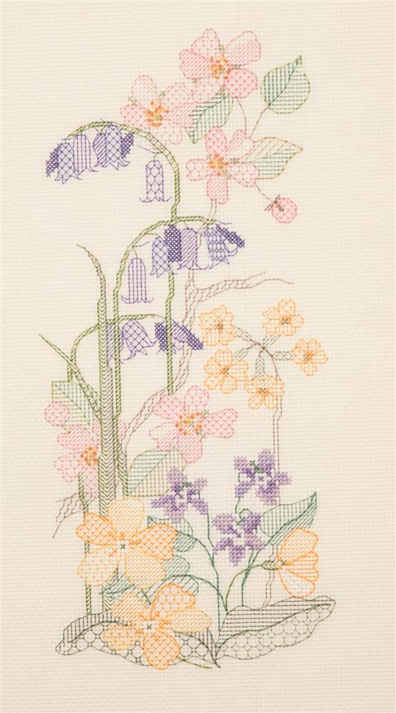 Creative Blackwork Embroidery Kit, Spring Season Flower Panel SP01