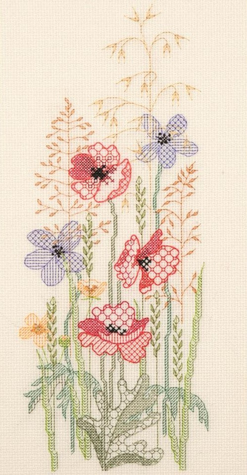 Creative Blackwork Embroidery Kit, Summer Season Flower Panel SP02