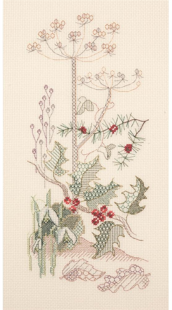 Creative Blackwork Embroidery Kit, Winter Season Flower Panel SP04