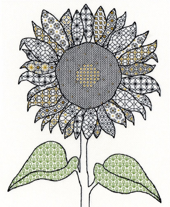 Creative Blackwork Embroidery Kit, Sunflower Blackwork XBW1