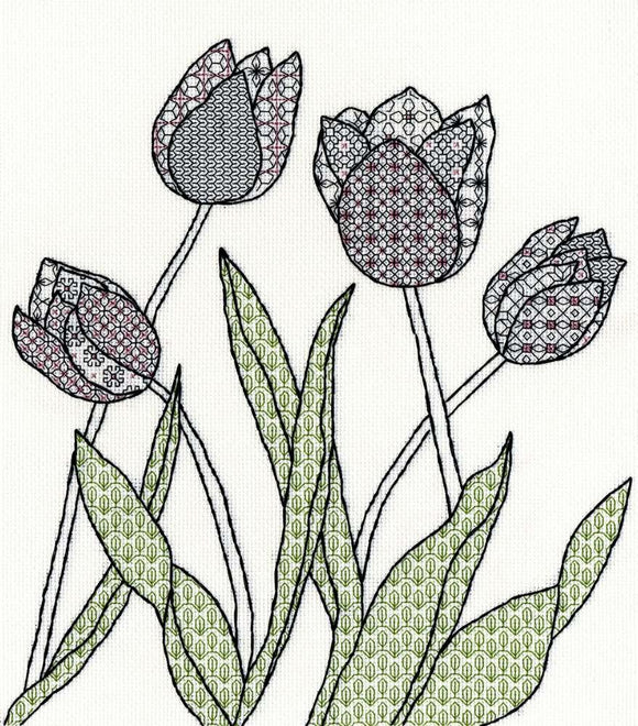 Creative Blackwork Embroidery Kit, Tulips Blackwork XBW8