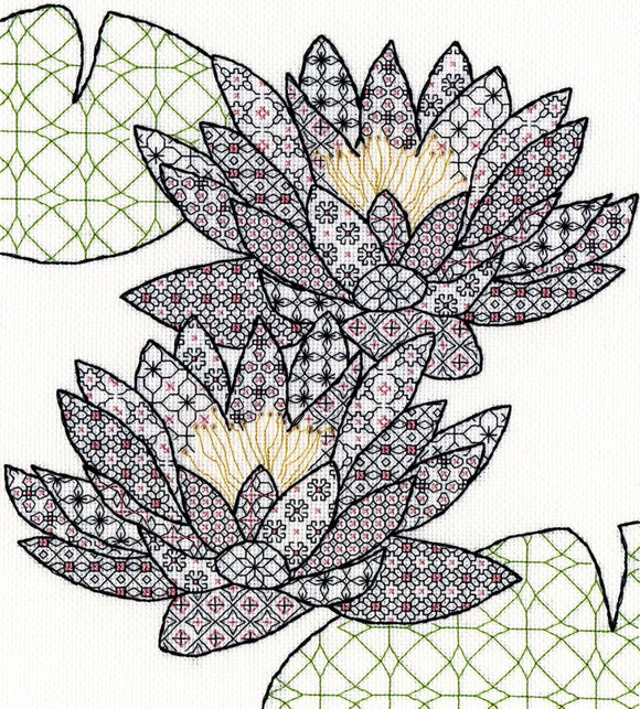 Creative Blackwork Embroidery Kit, Waterlilies XBW3