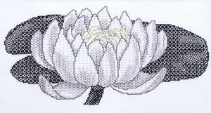 Creative Blackwork Embroidery Kit, Waterlily Flower Blackwork XC642