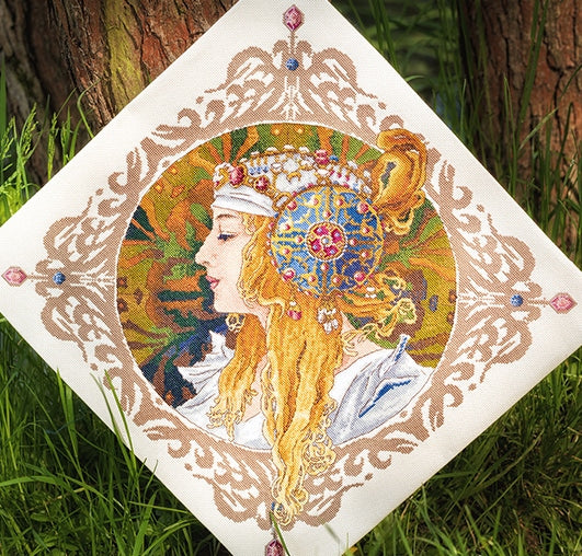 Blond by Mucha Cross Stitch Kit, Merejka K-141
