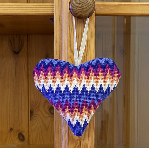 Tapestry Kit Blue Bargello Heart, Cleopatra's Needle