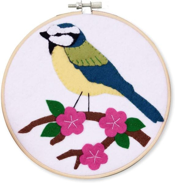 Bluetit Wool Felt Embroidery Kit, with Hoop, The Crafty Kit Company