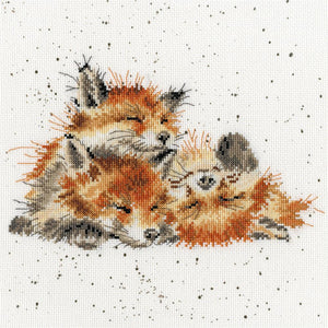 Cross Stitch Kit Afternoon Nap Foxes, Hannah Dale Wrendale Designs XHD45