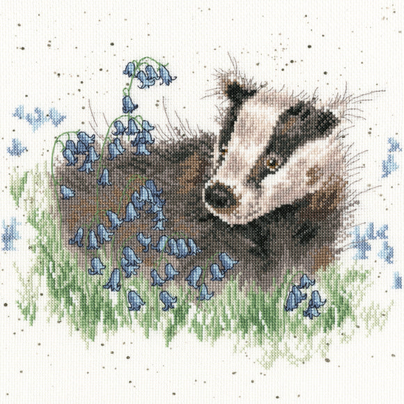 Bluebell Wood Badger Cross Stitch Kit, Bothy Threads Wrendale XHD31
