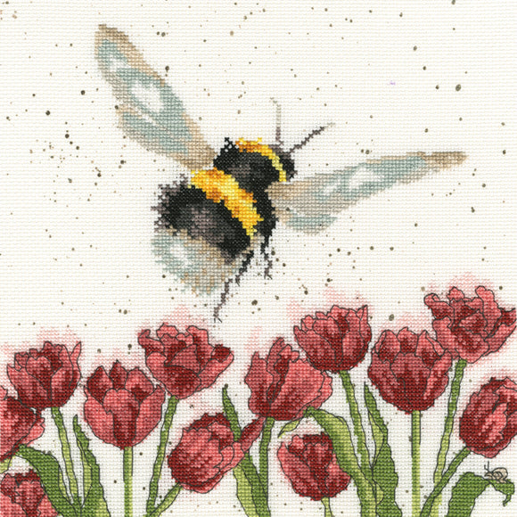 Cross Stitch Kit Flight of the Bumble Bee, Hannah Dale Wrendale Designs XHD41