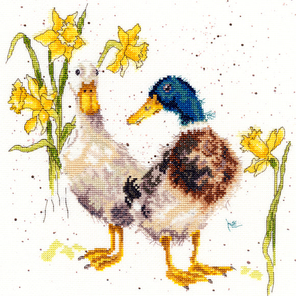 Cross Stitch Kit Ducks and Daffs, Hannah Dale Wrendale Designs XHD6