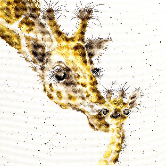 Cross Stitch Kit First Kiss Giraffes, Hannah Dale Wrendale Designs XHD3