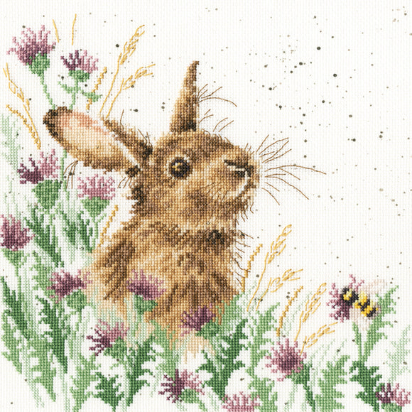 Cross Stitch Kit The Meadow, Rabbit, Hannah Dale Wrendale Designs XHD30