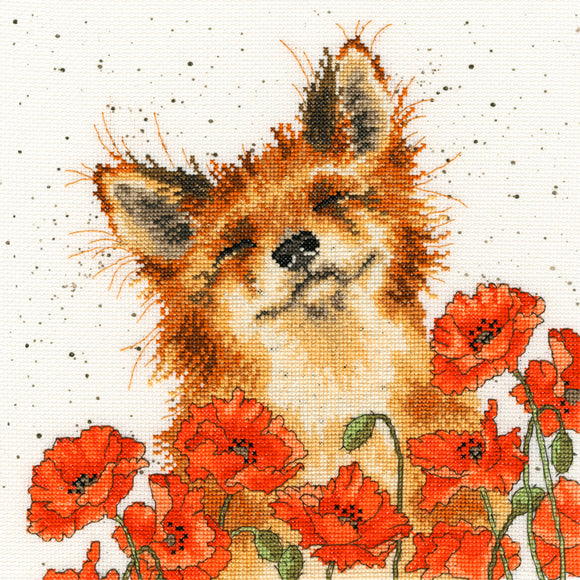 Cross Stitch Kit Poppy Field Fox, Hannah Dale Wrendale Designs XHD33