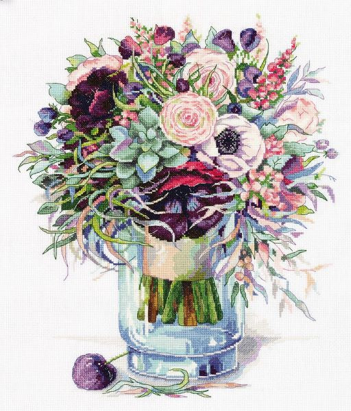 Bouquet with Anemones Cross Stitch Kit, Panna C-7159