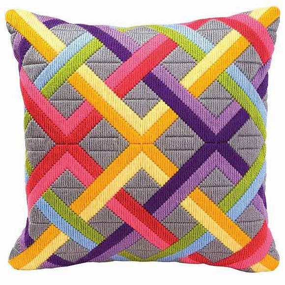 Bright Geometric Weave Long Stitch Kit, Vervaco Cushion Front PN-0010865