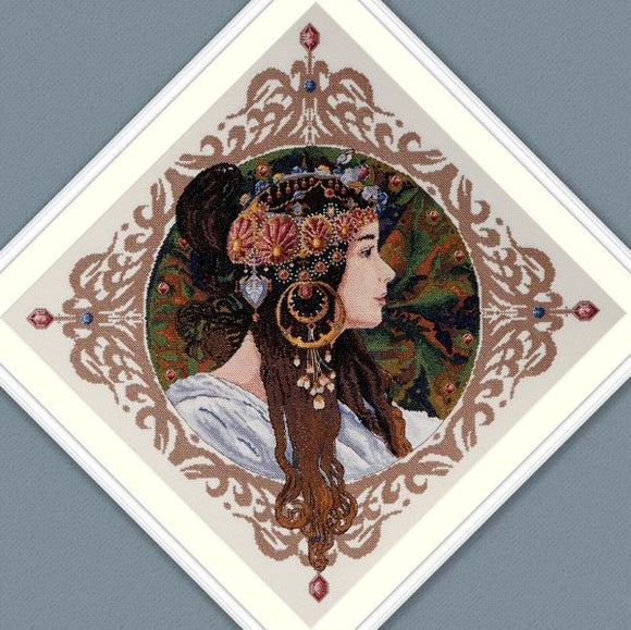 Brunette by Mucha Cross Stitch Kit, Merejka K-156
