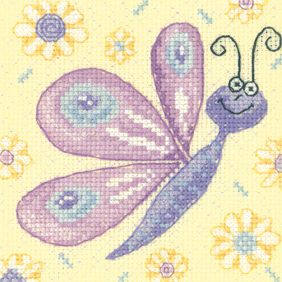 Butterfly Cross Stitch Kit Critter, Heritage Crafts -Karen Carter