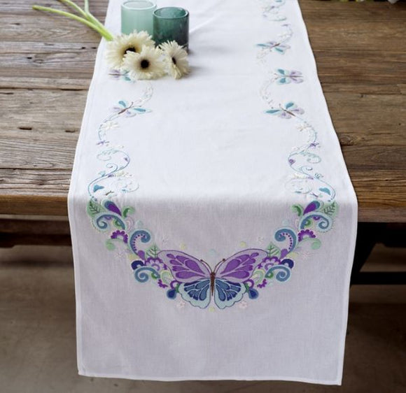 Butterfly Splendour Embroidery Kit Table Runner PRINTED Tablecloth, Vervaco PN-0144407