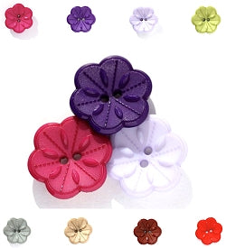 Black Flower Buttons, Flower Bloom Buttons - LARGE 28mm