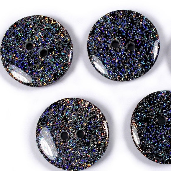 Glitter Buttons, Silver Glitter on Black Buttons - Shimmer 28mm, (1978) SET of 6