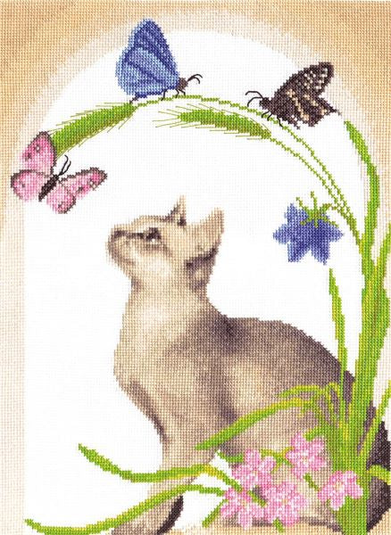Cat and Butterflies Cross Stitch Kit, Panna K-0372