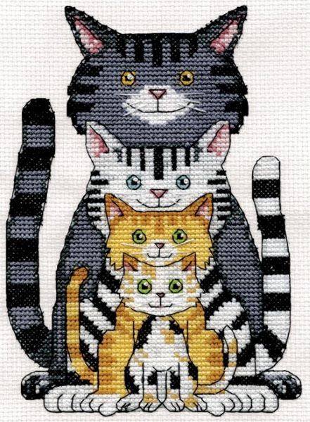 Cat Family Cross Stitch Kit, Design Works 3450