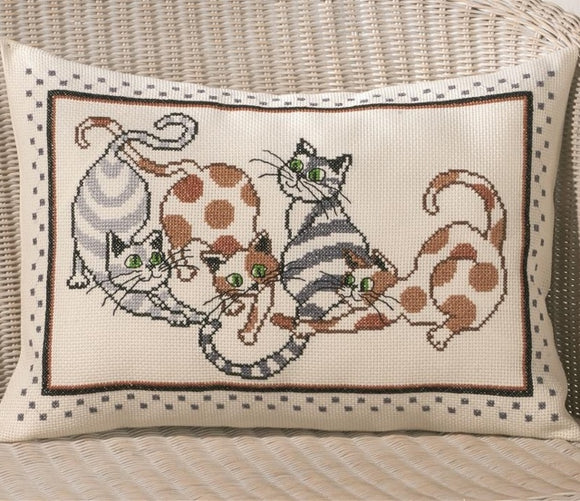 Cat Cross Stitch Kit Cushion Permin 83-7826