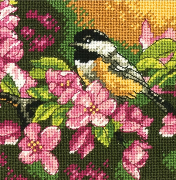 Chickadee in Pink Tapestry Needlepoint Kit, Dimensions D71-07244