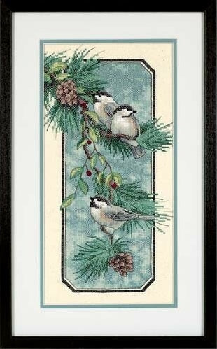 Chickadees PRINTED Cross Stitch Kit, Dimensions D03199
