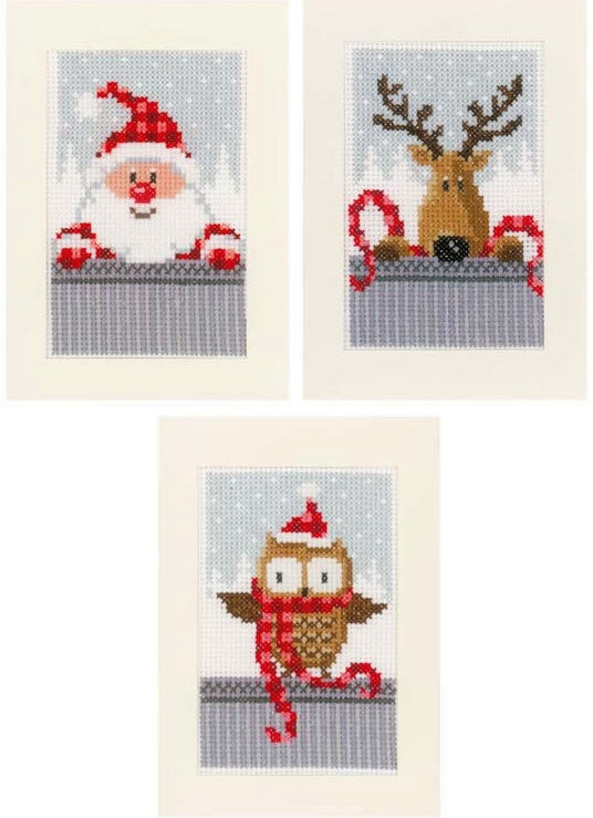 Christmas Buddies Greeting Card Cross Stitch Kits - SET of 3, Vervaco