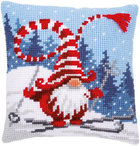 Christmas Gnome Skiing CROSS Stitch Tapestry Kit, Vervaco pn-0172809