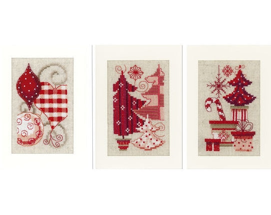 Christmas Motifs Greeting Card Cross Stitch Kits - SET of 3, Vervaco