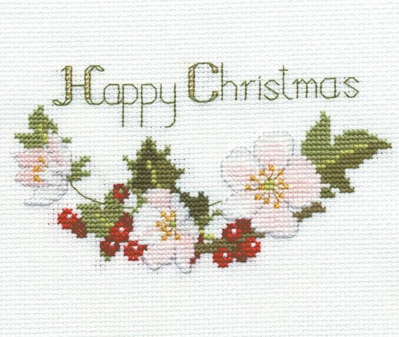 Christmas Roses Cross Stitch Christmas Card Kit, Derwentwater Designs