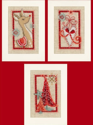 Scandi Christmas Greeting Card Cross Stitch Kits - SET of 3, Vervaco