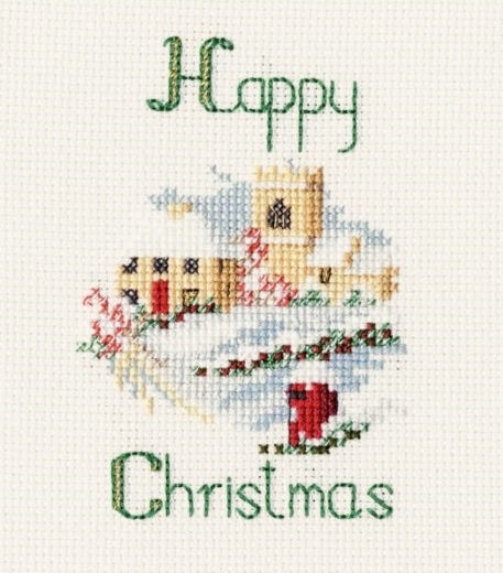 Christmas Village Cross Stitch Christmas Card Kit, Derwentwater Designs