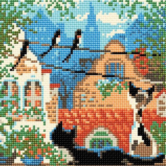 Diamond Mosaic Kit, City Cats Summer, Riolis AM0048