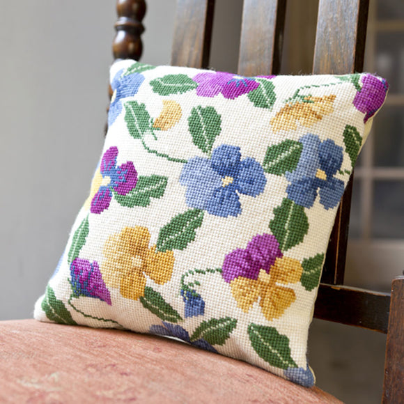 Tapestry Kit Wild Pansy Garden Cushion / Herb Pillow, Cleopatra's Needle