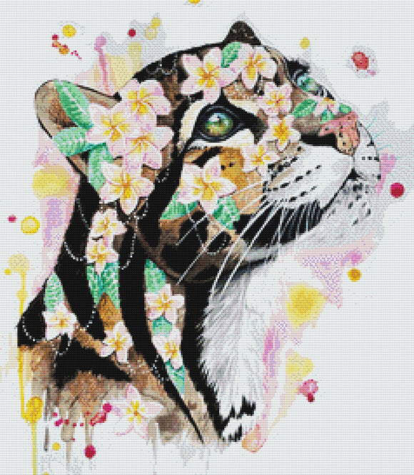 Clouded Leopard, Modern Counted Cross Stitch Kit -Scandy Girl